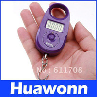 Pocket Scale <50g China (Mainland) Freeshipping 15kg * 5g Mini Purple Digital Display Hanging Luggage Fishing Weighing Scale KG LB
