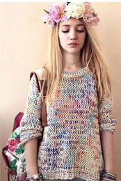 Womens Rainbow Long Sleeve Pullover Jumper Casual Loose Top Knitwear Sweater New