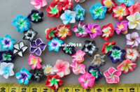 Jewelry Findings handmade clay pendant - 100 Assorted Colors handmade Natural Fimo Polymer Clay Flowers Cab pendants mm