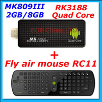 Wholesale MK809 III Google TV Box Mini PC RK3188 Android quad Core With Air Mouse Keyboard RC11 Combo Package