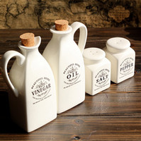 Wholesale pieces European style white ceramic condiment set oil vinegar bottle salt pepper shaker cruet cookware