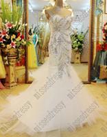 Wholesale Luxurious White Organza Bling Mermaid Wedding Dress Crystal Michael Cinco Wedding Dresses Sweep Train Sexy mermaid wedding dresses