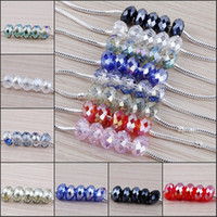 Wholesale 14mm Faceted Glass Crystal Rondelle European Big Hole Spacer Bead Fit Charms Bracelet