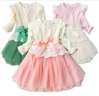 Wholesale Fall Flower Girls Lace Dress Pure Cotton Ribbon Net Yarn Long Sleeve Children Dress Baby Kids Princess Dress Korean Clothing QZ30