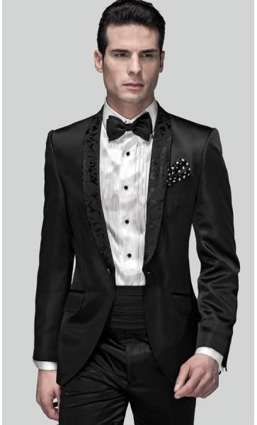 Slim Fit Groom Tuxedos Black One Button Shawl Lapel Best Man ...