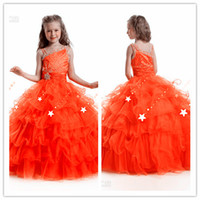 Reference Images Girl Beads Pageant Dresses For Little Girl One shoulder Beading Tulle Ball Gown Flower Girl Dress Custom Made #f6555