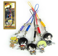 Wholesale Japanese Anime Cartoon Attack on Titan Eren Mikasa Rivaille Cell Phone Strap Metal Pendants