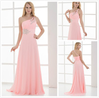Wholesale Sexy Beaded One shoulder Cocktail Dress Chiffon A line Ruffle Beads Long Formal Lace up Gown Prom Dress