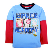 Wholesale A4272 Blue Nova factory outlet store m y children boys t shirts hot PEPPA PIG clothing cotton long sleeve spring autumn tee shirts tops