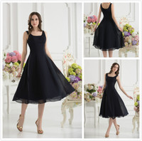 Sleeveless chiffon tea length bridesmaid dresses - 30 off Simple Short Bridesmaid Dresses Sweetheart Black Tea Length Chiffon Prom Dresses Bridesmaid Dress