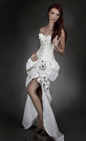 Wholesale Embroidery Ivory Steampunk Burlesque Corset Wedding Gown With Train Sweetheart Handmake Flower Ruffle Asymmetrical
