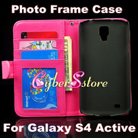 Wholesale High Quality Photo Frame Photoframe Wallet Flip PU leather Case Cover With Credit Card Slot Slots For Samsung Galaxy S4 Active I9295