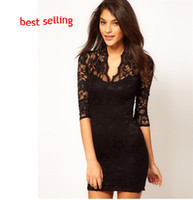 Sexy Short Women Dresses Sheath Slin Elastic Lace V- Neck Ha...