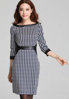2013 Autumn Fashion Dresses Leather stitching 3 4 sleeve cot...