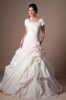 Wholesale 2014 New A Line Taffeta Crystal ruched bodice Short Sleeve buttons zipper Handmade flowers feathered modest wedding dress