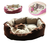 Pink / brown Small Beds Free Shipping Pui Ting brand Cashmere pet nest with small pillow High-density non-woven Kennel, S L 2color