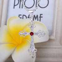 Cross bargain holidays - Bargain price fashion trend high quality silver pendant Swarovski Elements Crystal beautifully Cross necklace jewelry holiday gifts