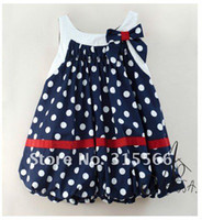 Wholesale AMISSA children baby dress girl s lantern dress chiffon bow polkadot dress summer