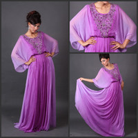Wholesale 2014 Babyonline Long Sleeves Jewel Neck Beaded Purple Chiffon Arabic Dubai Abaya Kaftan Evening Prom Dresses Long Floor Length ED834