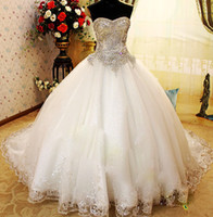 Wholesale Luxurious Princess strapless sequins drill beaded crystal women ball gown wedding dress sweetheart white lace up bridemaid big bowknot