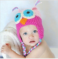 Unisex Winter Cotton,Polyester MOQ 5pcs lot free shipping 8 color in stock OWL Crochet Children Hat with Ear Animal baby cap B061p