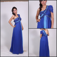 Sequins Chiffon One-Shoulder 2014 Sexy One Shoulder Pageant Dresses Sleeveless Beaded Royal Blue Chiffon Arabic Dubai Abaya Kaftan Colorful Evening Prom Dresses ED835