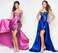 Wholesale Sexy Sequins amp Beaded Aline Short Front Long Back High low Prom Dresses Homecoming Dresses