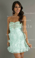 A-Line Organza Sexy Homecoming Dresses Sexy New Cheap Sweetheart Applique Beaded Pleat Organza Mini Short Homecoming Party Cocktail Gowns I0791571