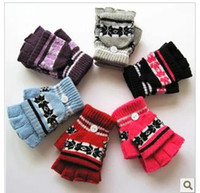 Wholesale Winter fashion ladies gloves in the Korean version lovely snow dual use flip half gloves