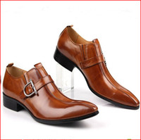 Wholesale Mens Real Leather Shoes pointed leather dress shoes breathable Top Quality