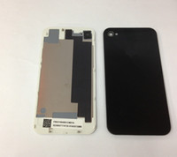 Wholesale Top quality black white for iphone4 S GSM cdma back glass battery cover housing door replacement parts dhl