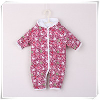 Wholesale Baby Rompers Cartoon Flowers Kids Jumpsuit Hoodies Long Sleeves Infants One Piece Thicken Baby Clothes Cotton Fabric Best Service B