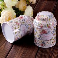 al por mayor lata de té de la flor de la vendimia-envase caja de almacenamiento caja de caja de té serie de flores estaño organizador de almacenamiento de hierro caso del estilo de la vendimia