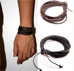 2013 Fashion Jewelry Wrap Multilayer Genuine Leather Bracelet with Braided rope Unisex for Men & Women