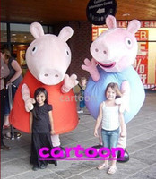 Animal Mardi Gras / Carnival Athletic & Sporty 2013 new style Custom made Cartoon Character Costume mascot Peppa george pig costumes clothes suits for Adult Size 2pcs lot