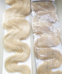 Wholesale TOP QUALITY Very Soft Body Wavy Wefts g Brazilian Virgin Remy Human Hair Extensions One Set Platinum Blonde