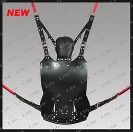 Wholesale 2013 newest Best price top quanlity Black sex toys BDSM new coming Strict Leather Sling w and Stirrups and Pillow