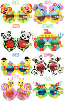 Wholesale 3D stereo pictures of children s toys Kids DIY Craft Kits EVA Foam Glasses D Puzzle Stickers Cartoon animals Mask Party Favor