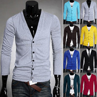 Wholesale Mens Candy Color V neck Slim Fit Button Down Cardigan Knitwear Jumper shirts