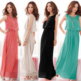 Wholesale Women Bohenmia Pleated Wave Lace Strap Princess Chiffon Maxi Long Dress Four Colours Adeal CWYE0095