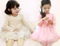 Wholesale Korean Style Girls Dress High Quality Bowknot Net Yarn Long Sleeve Children Dress Year Princess Baby Kids Clothing QZ33
