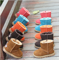 Wholesale Thermal child snow boots boy girl genuine leather warm boots cow muscle outsole baby winter shoes D