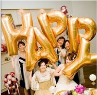 Wholesale New Arrival Golden Wedding Balloons with letter of the alphabet CM Large Size for Party Props Wedding Decoration