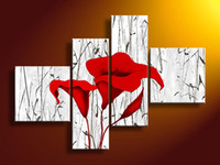 Cheap Framed 4 Panel 100% Handmade Huge Red Flower Canvas Painting Calla Lily Wall Art Interior Decor Home Abastract Picture XD01531