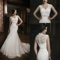 Wholesale 2014 New Style High Neck Mermaid Wedding Dresses Bridal Gowns Dresses for Chapel Wedding Bride Vintage Lace Court Train Charming Cheap Satin