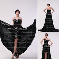 Wholesale 2016 Homecoming Dresses A Line Chiffon And Sequins Black Color High Front And Low Back Evening Dresses Real Images Get A Necklace For Free