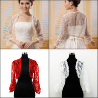 Wholesale In Stock Wedding Accessories Bridal Decoration Tulle Lace Applique Jacket Bolero Tippet Low Price With Long Trumpet Sleeves White Red Color