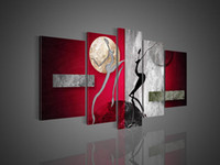 More Panel Oil Painting Abstract Framed 5 Panel High End Large Abstract Wall Art Modern Interior Purple Painting 5 Piece Home Decoration Canvas Picture XD01546