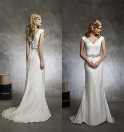 Wholesale 2014 Elegant New Empire Wedding Dresses Bridal Gowns Dresses for Wedding Bride Cheap White Satin Sash Beaded V Neck Covered Button Custom