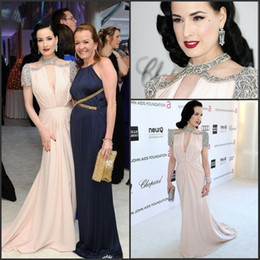 Wholesale Sexy Pageant Celebrity Dresses Dita Von Teese Beading th Annual Elton John AIDS Foundation Academy Awards Cap Sleeves Gowns WD0240